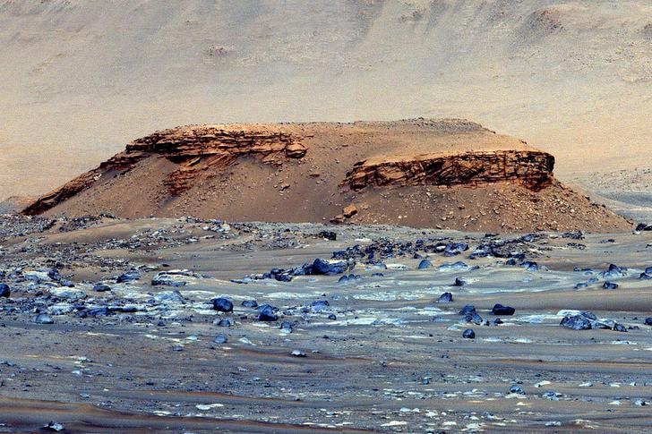 A false-color image, snapped by the Perseverance rover, of a butte nicknamed Kodiak. Scientists say the images demonstrate geological evidence of an ancient river delta