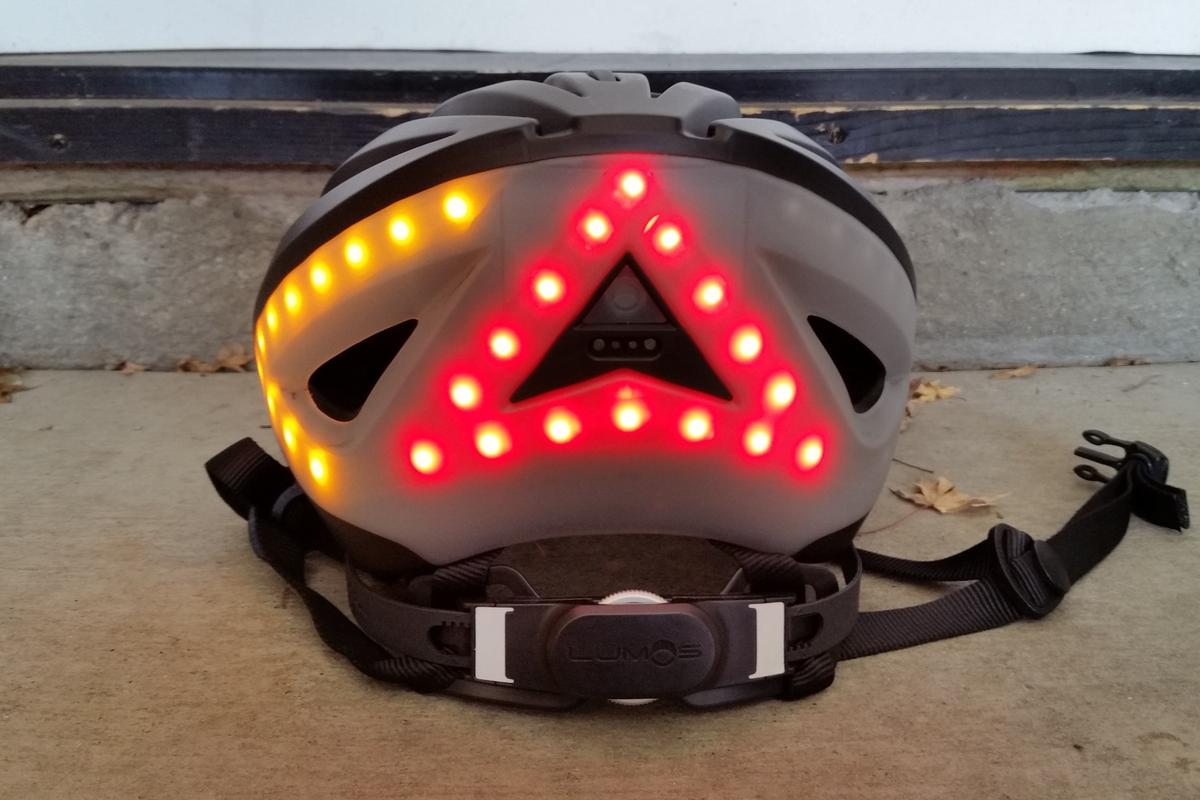 The turn signals of the Lumos helmet can be seen from the back and side