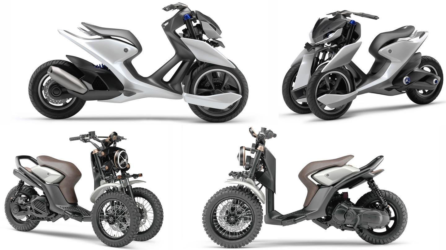 "Yamaha's showing of two vastly different directions for its three-wheeled architecture is an indication we'll see even more variations on the three-wheeled theme from Yamaha at this year's Tokyo Motor Show. That's the road-going 03GEN-f at top and the dual-purpose ""cross"" 03GEN-x below."