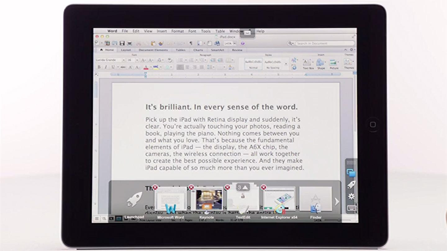 Parallels Access gives you a multitasking switcher, which adds to the illusion of running your desktop apps natively
