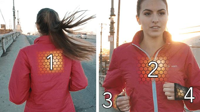 The Flexwarm smart jacket allows users to dial in a specific temperature for each of the separate regions