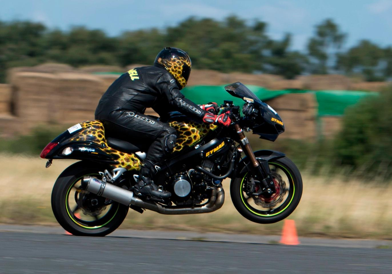 Gary Rothwell from Liverpool during a run at the Motorcycle World Wheelie Championship