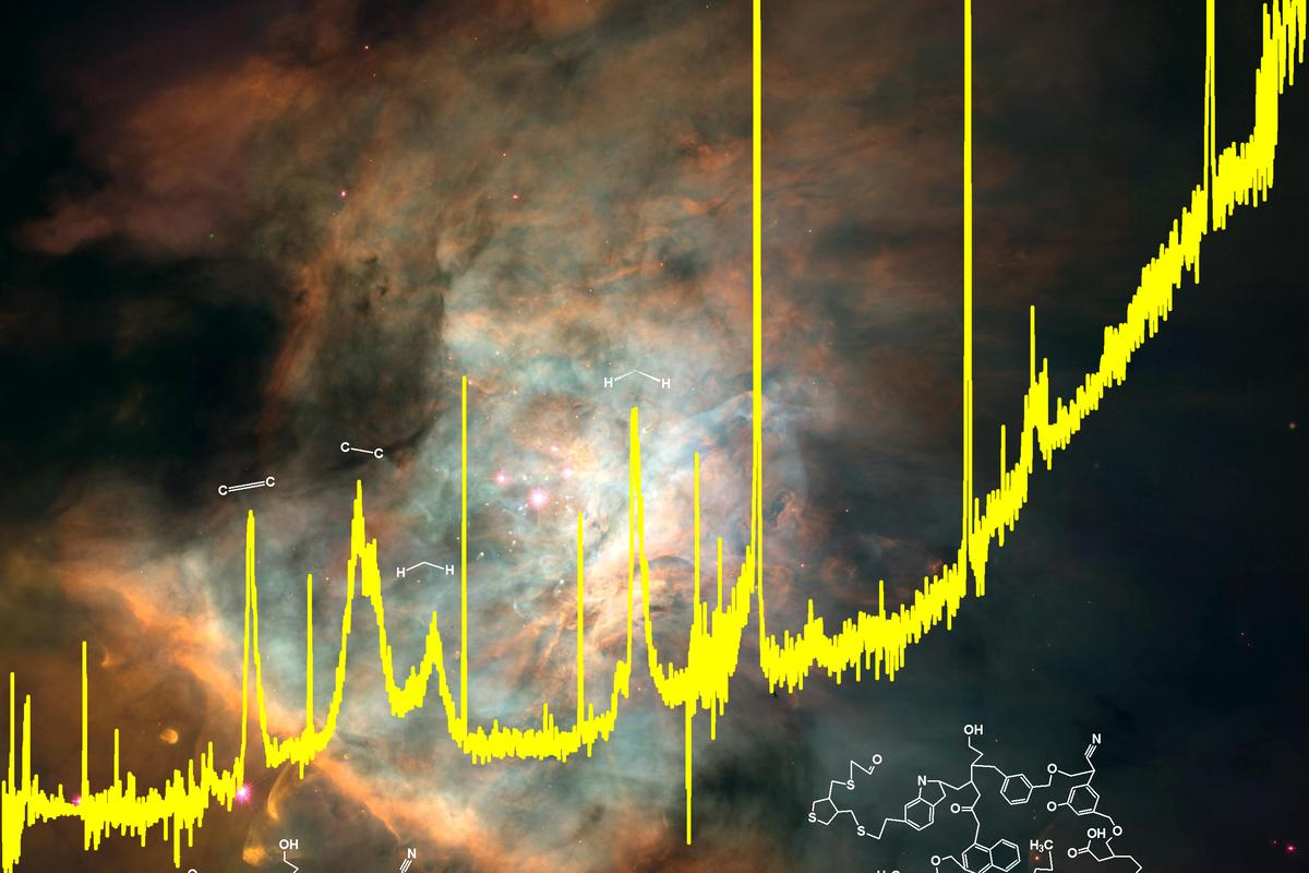 A spectrum from the Infrared Space Observatory superimposed on an image of the Orion Nebula where the complex organics are found