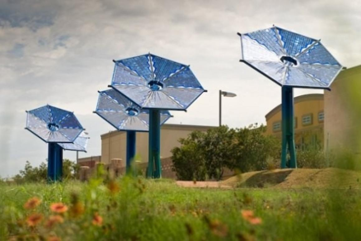 By day the sunflowers collect the sun's energy to provide power for the LEDs after dark