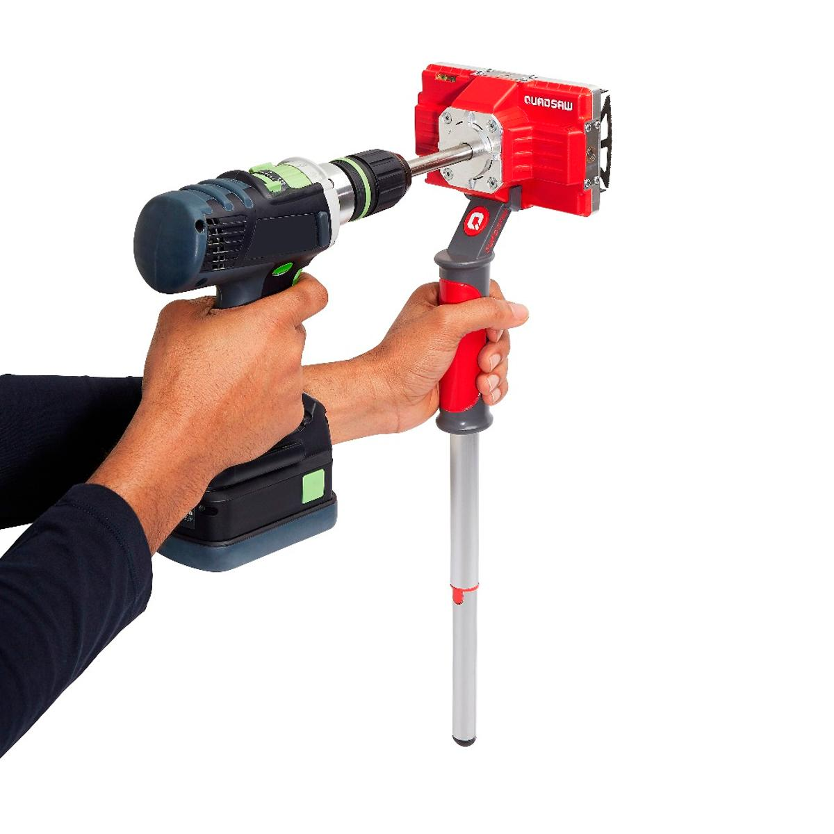 Quadsaw: attaches to the end of a drill to create perfectly square or rectangular holes in plaster walls