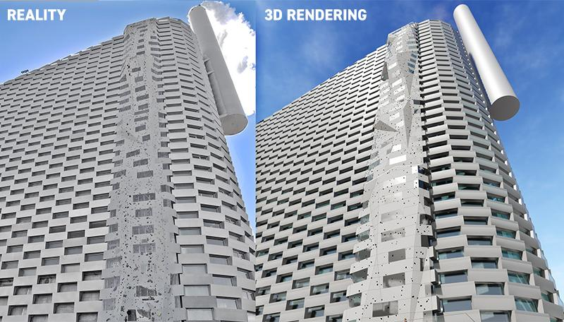 Render vs reality of the design for the CopenHill climbing wall