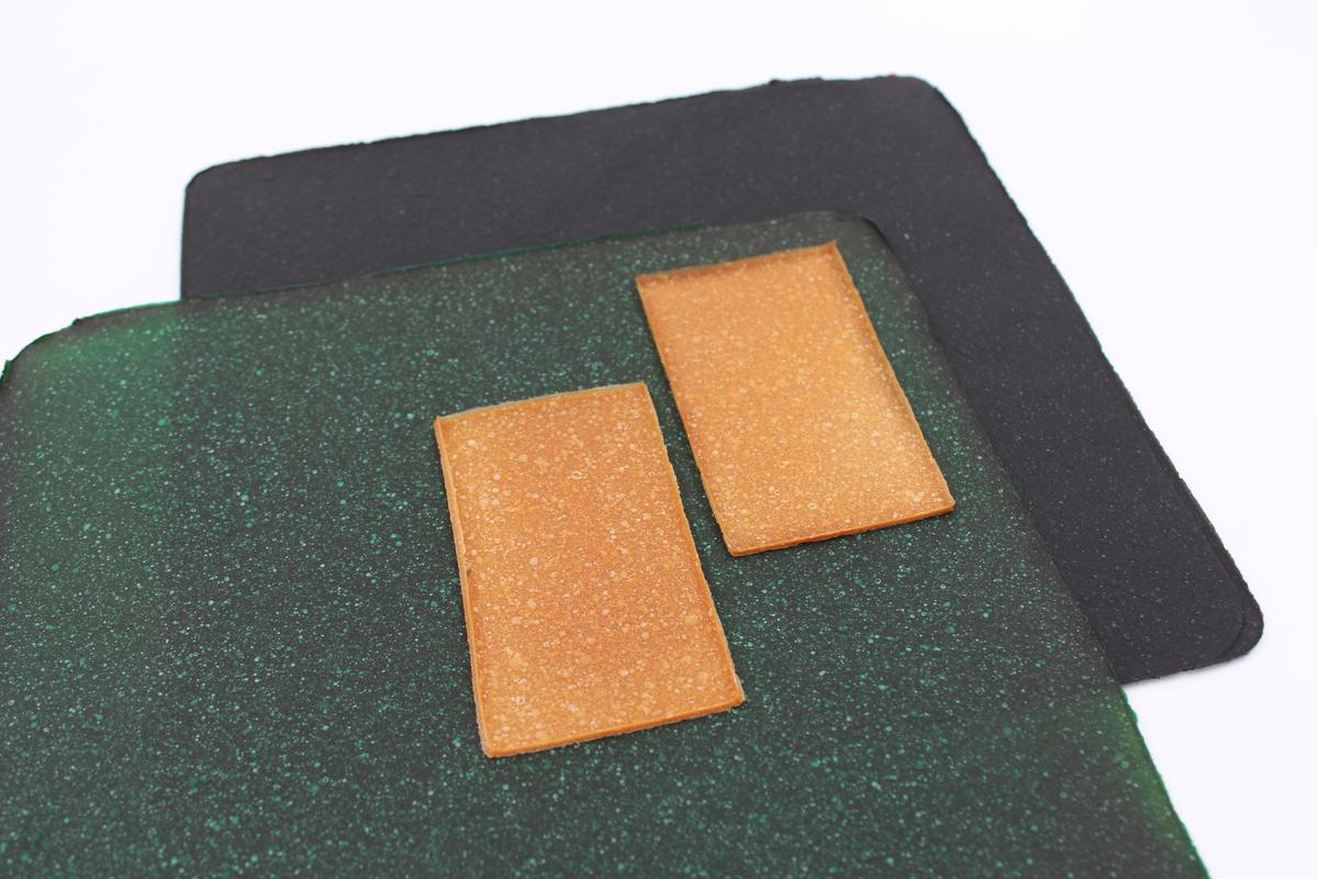 Samples of mycelium leather sheets produced at VTT