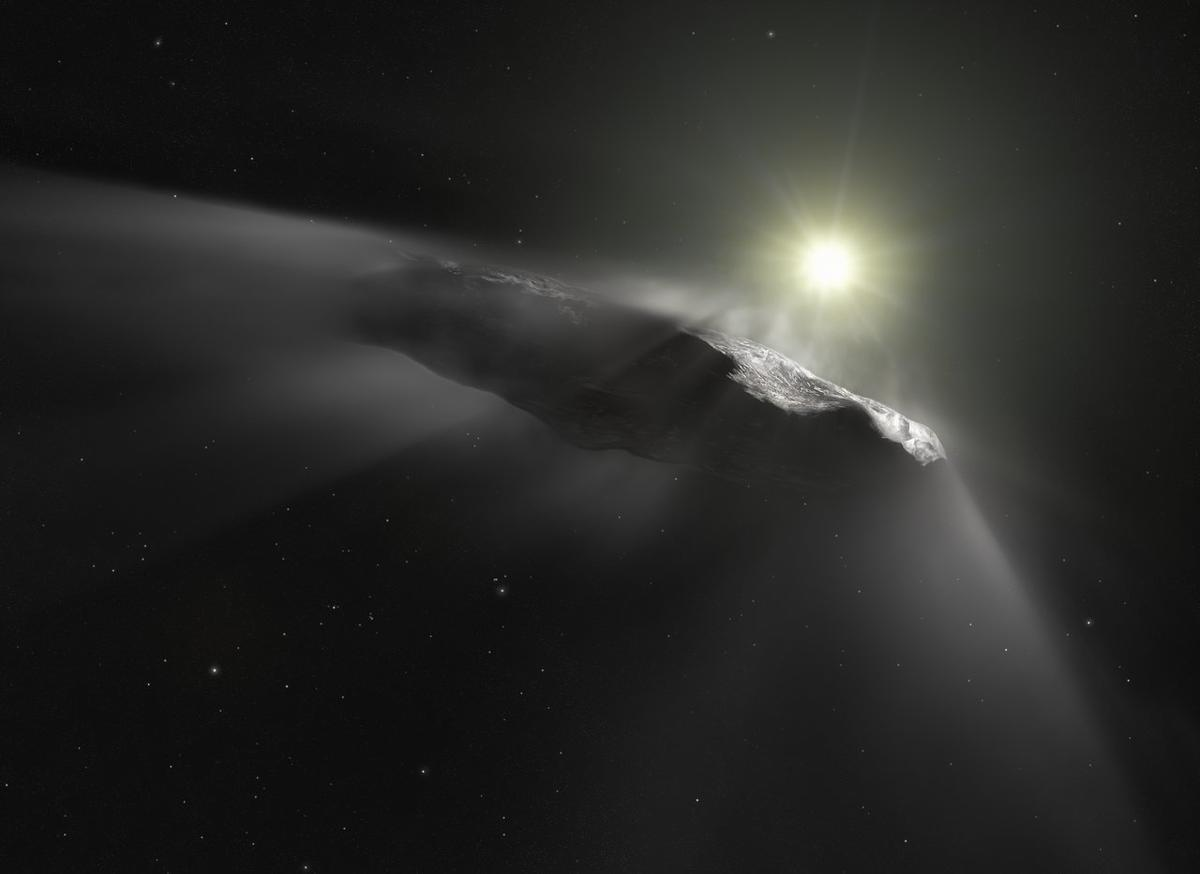 A new artist's impression of the interstellar object 'Oumuamua, which is now believed to be a very mildly-activecomet