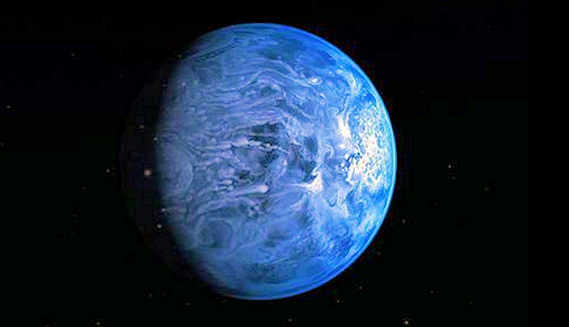 Artist's conception of the blue exoplanet HD 189733b, orbiting a star 63 light years distant (Image: NASA, ESA, M. Kornmesser)