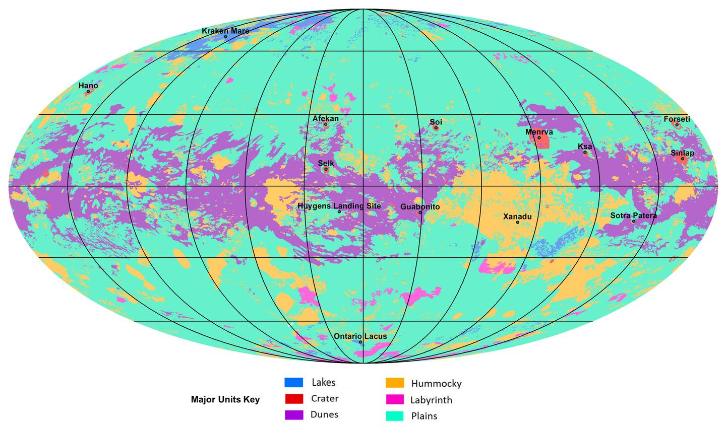 The new map of Titan shows where all the major landmarks are