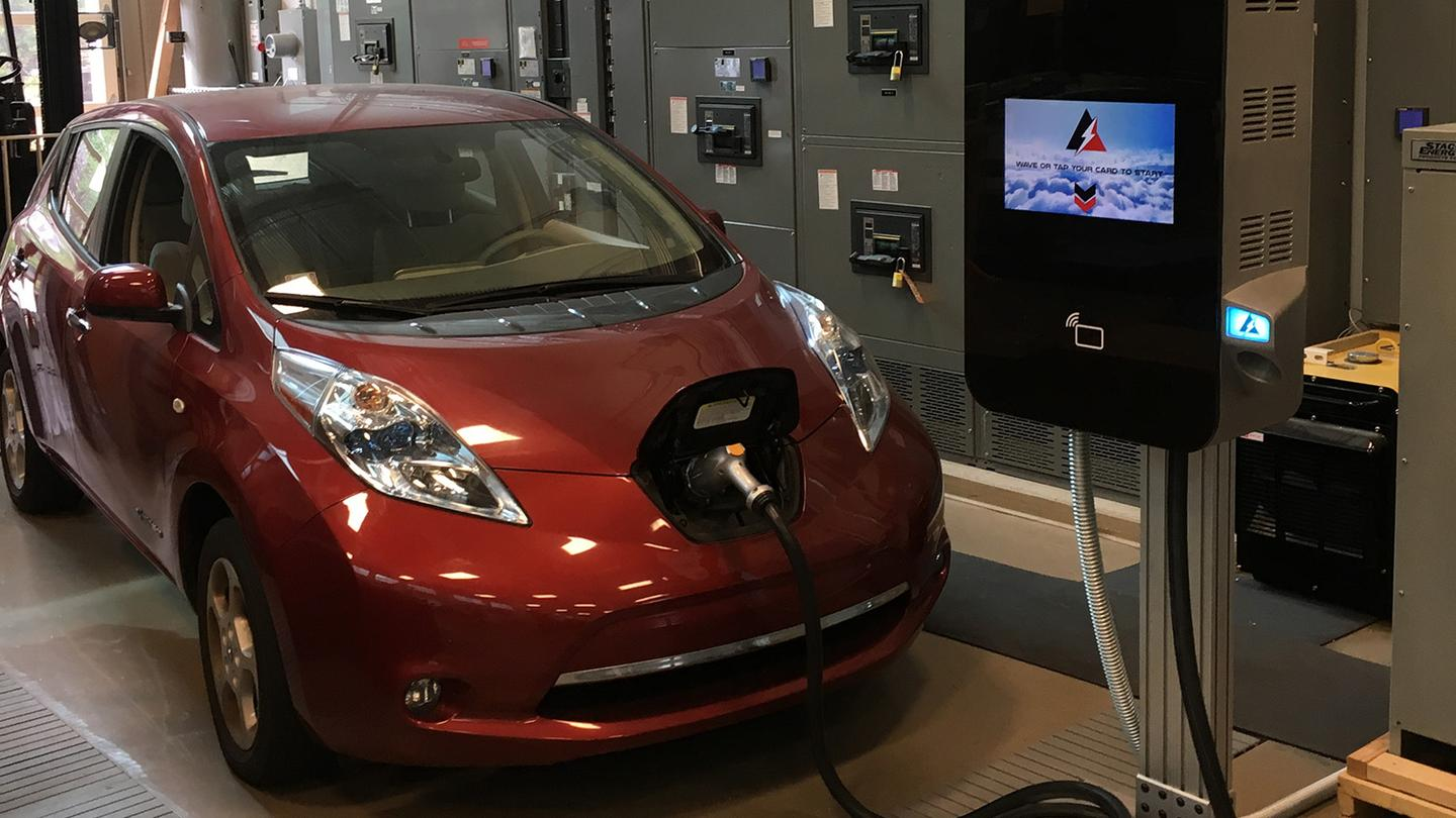 The medium voltage fast charger (seen here) is claimed to waste over60 percent less power than a conventional model