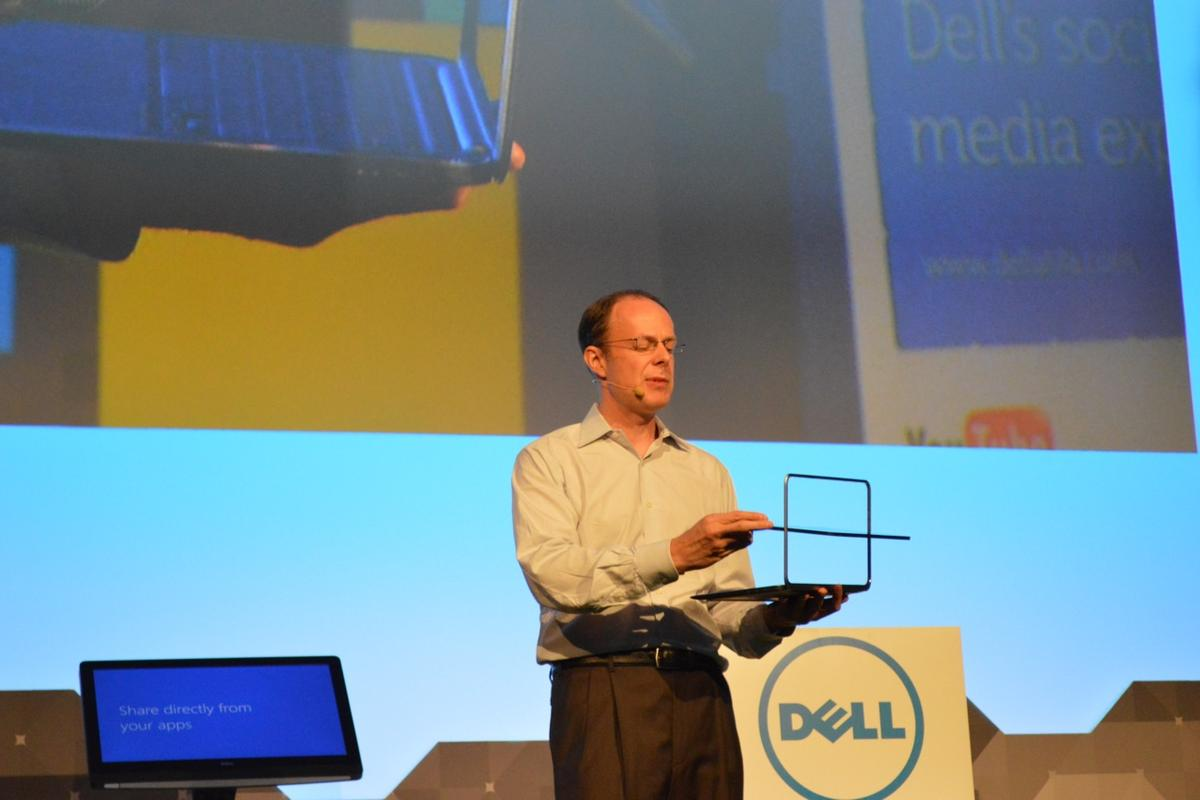 Dell's Sam Burd (VP, Global Product Operations at Dell) demo'ing the XPS Duo 12
