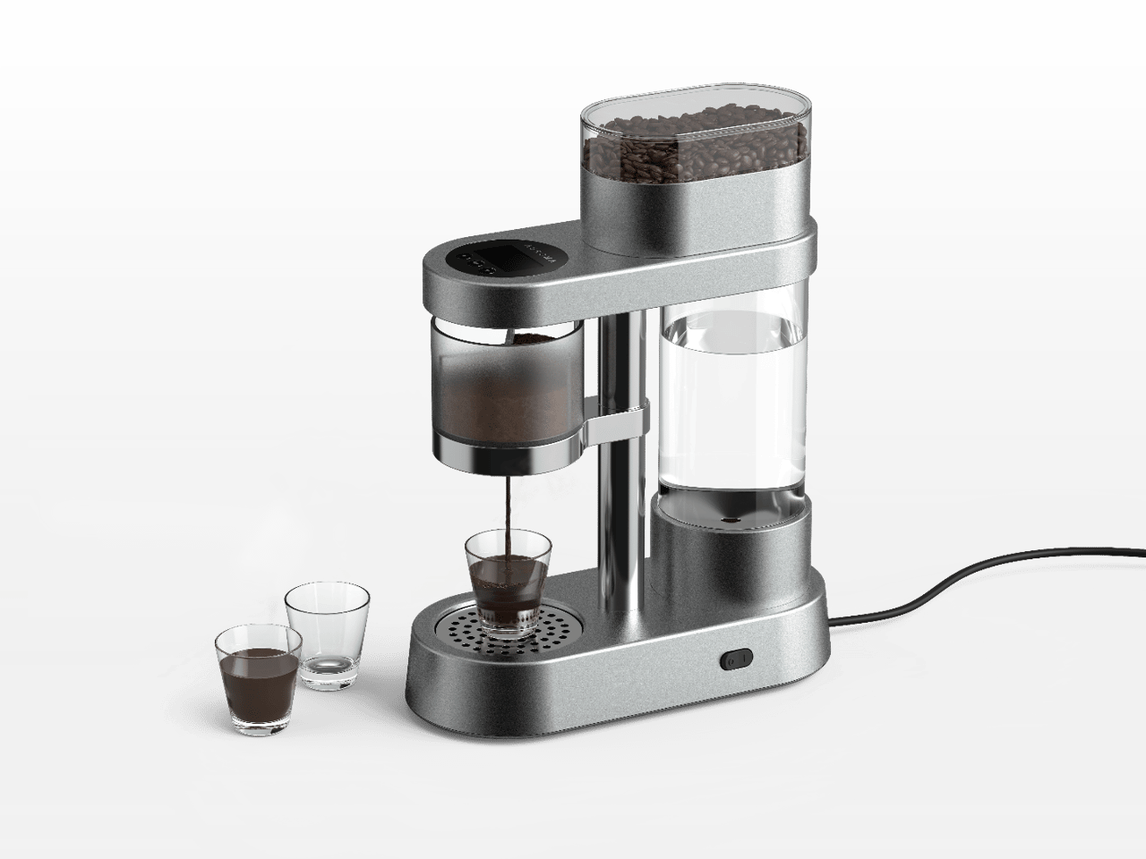 The Auroma One can set up tasting flights of three coffee types in separate shots, or one type with three different settings
