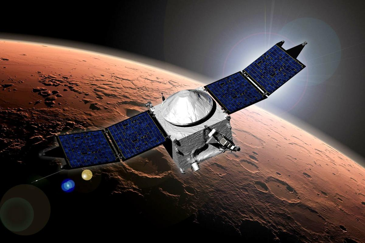 Artist's concept of MAVEN, which recently got a little closer to the surface of Mars (Image: NASA)