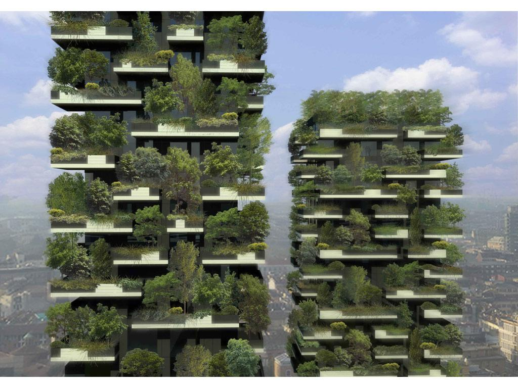 Bosco Verticale is a planned 10,000 square meter urban forest, which will grow upwards. (image from Stefano Boeri)