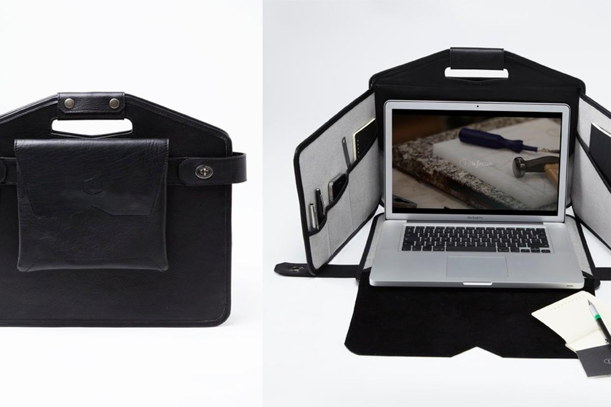 La Fonction No.1 is a briefcase which transforms into a miniature mobile cubicle