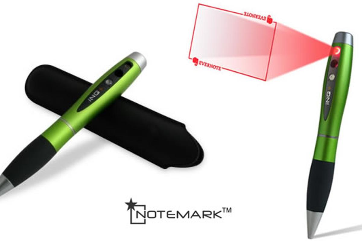The NoteMark is a ballpoint pen with a built-in camera and laser sight that stores documents as high-definition photos