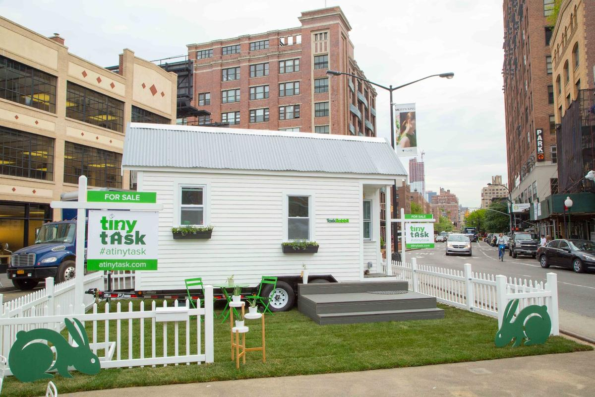 The tiny house was constructed in Manhattan's Meatpacking District over 72 hours