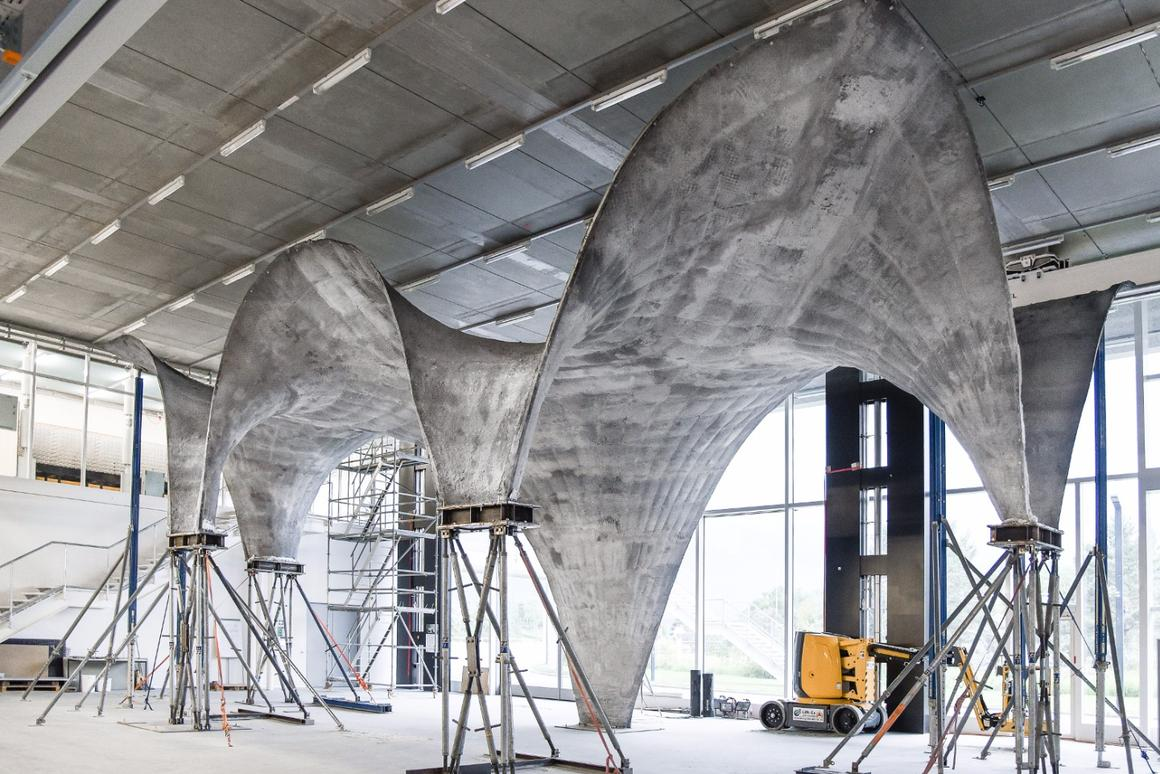The ultra-thin, curvedconcrete roof, built as a prototype of a new fabrication method designed byETHZurich engineers
