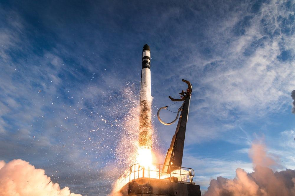 The Electron rocket during an earlier launch