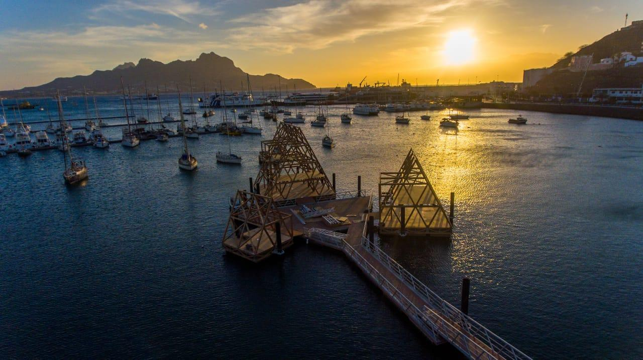 The Floating Music Hub is currently under construction in Mindelo, São Vicente, Cape Verde, an African island country in the Atlantic Ocean