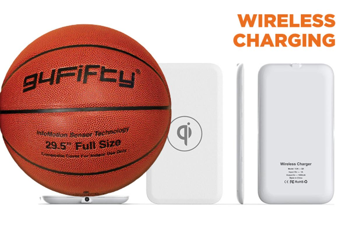 The 49Fifty basketball uses Qi wireless chargind