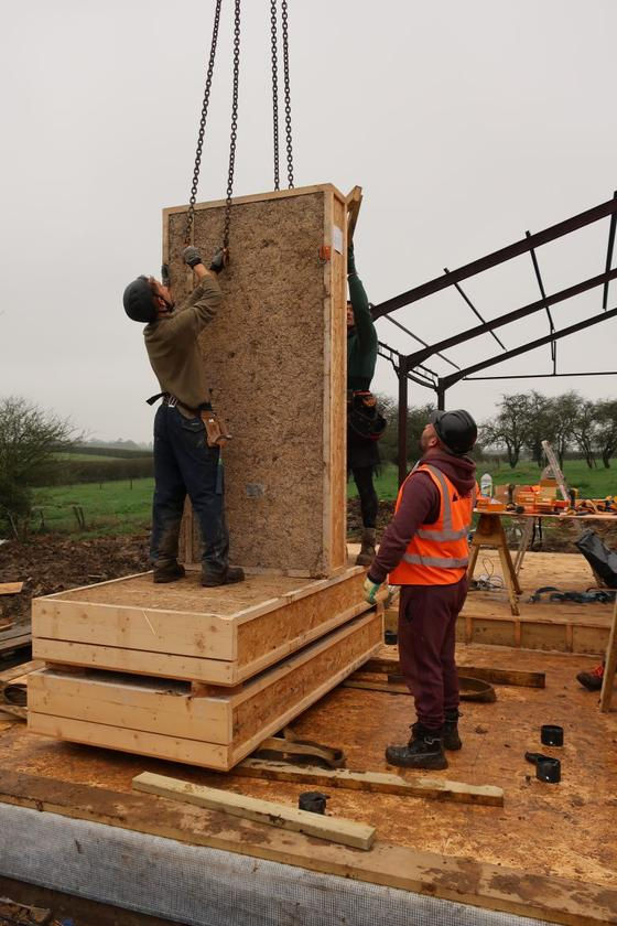 The hemp-filled cassette panels and cladding were prefabricated off-site, allowing the main part of the home to be assembled in just two days