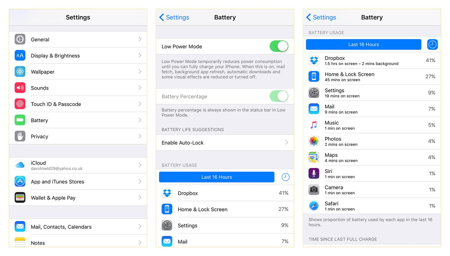 iOS 9 brings with it better battery management and a new low power mode