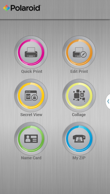 The Polaroid Zip app interface