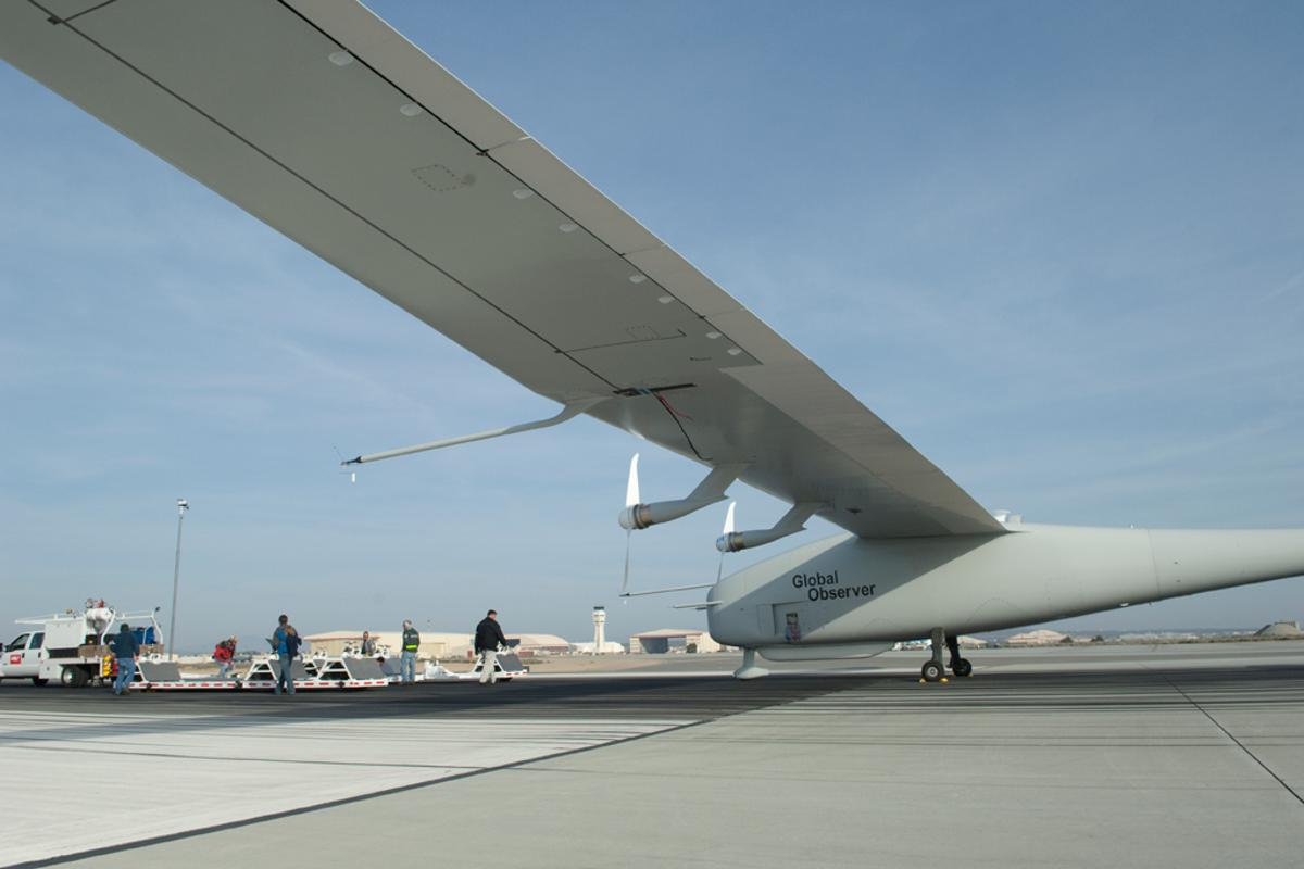 The Global Observer before its maiden flight in August 2010