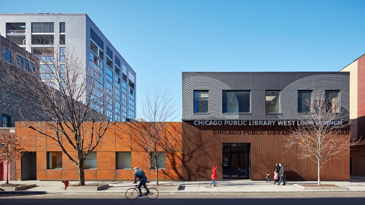 Chicago Public Library, West Loop Branch, was designed by Skidmore, Owings & Merrill