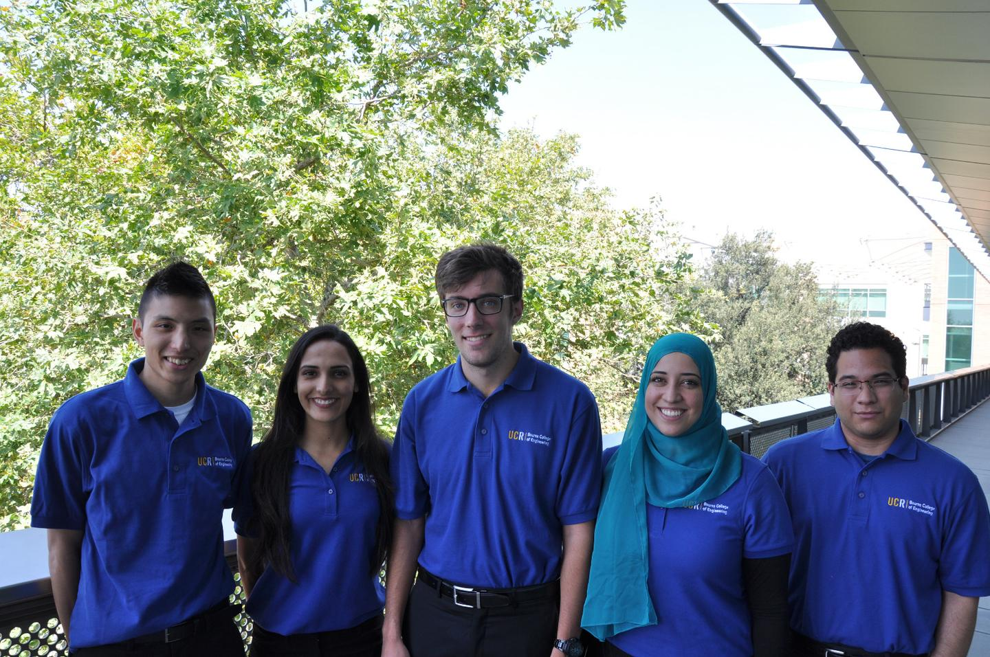 The Husk-to-Home team, from left – Chris Yang, Lamees Alkhamis, Colin Eckerle, Jeniene Abugherir and Joel Sanchez