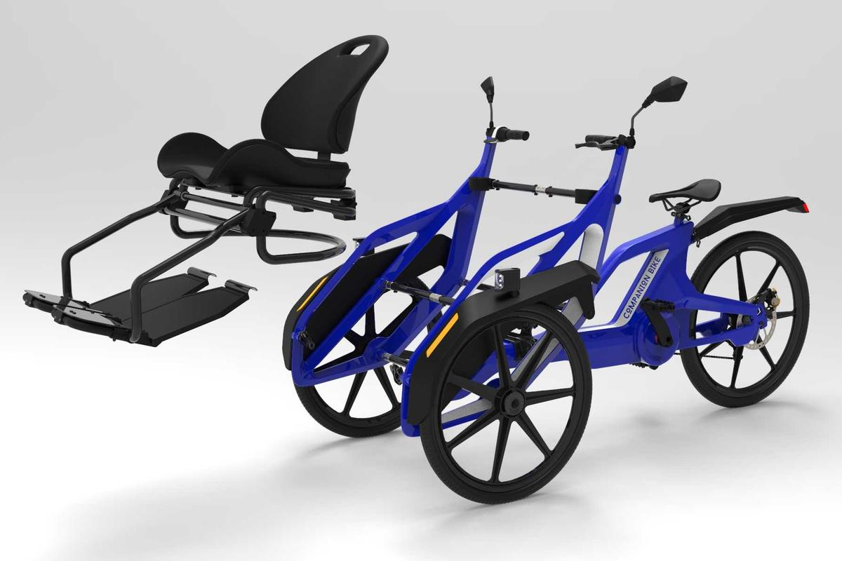 The Companion Bike's passenger seat can be removed, with the two sides of the frame then being pushed in toward each other