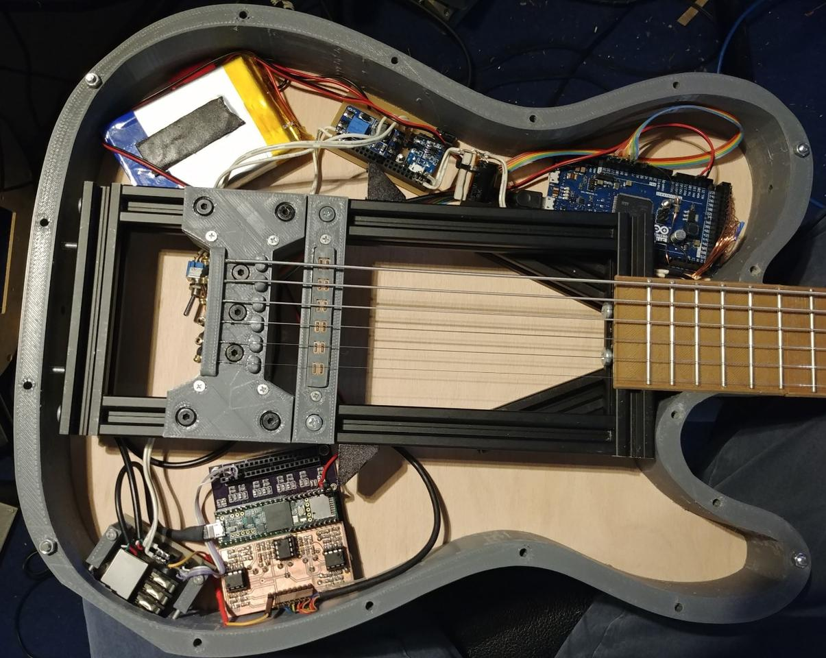 The 3D-printed frame of the ElektroCaster leaves lots of room inside for current and future electronic wizardry