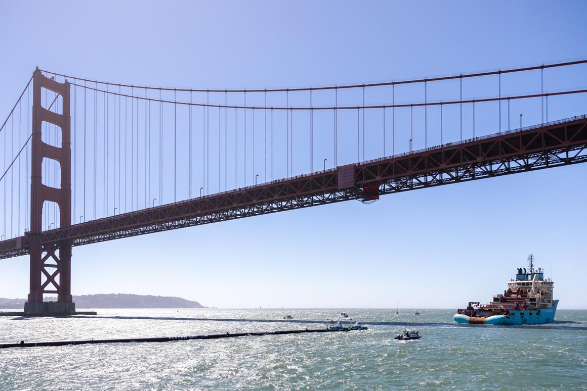 Launched on Saturday from San Francisco, the completed system is now headed for the Great Pacific Garbage Patch