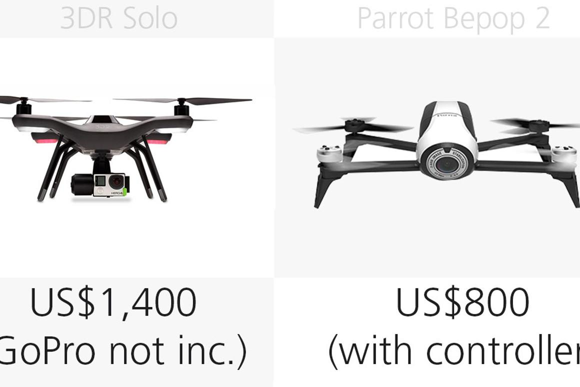 The Phantom 3, 3DR Solo and Parrot Bepop 2: Comparing