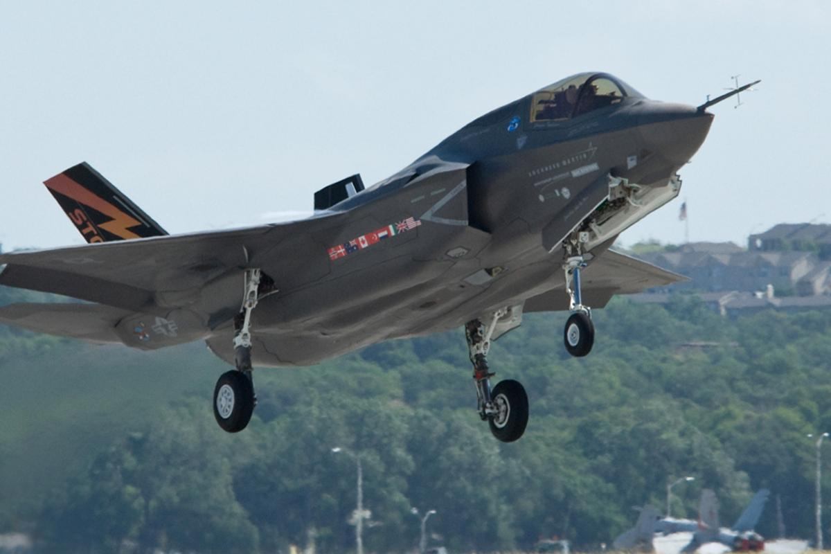 The first Lockheed Martin F-35B short takeoff/vertical landing stealth fighter takes off (conventionally) from Lockheed Aeronautics in Fort Worth, Texas