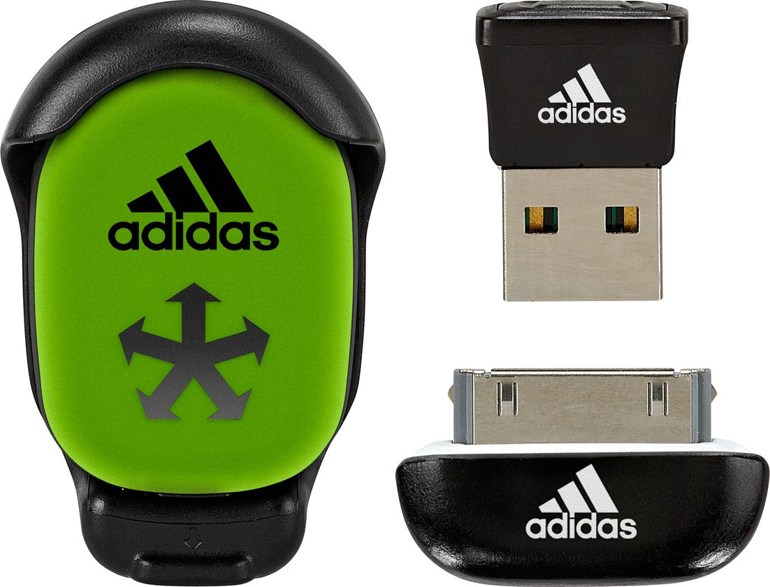 The miCoach Speed Cell, USB connect for PC and Mac, and iPod/iPhone dongle