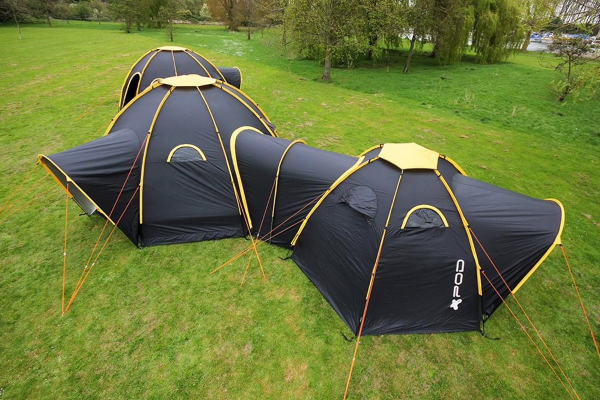 POD Tents secure together to create a sort of camping compound
