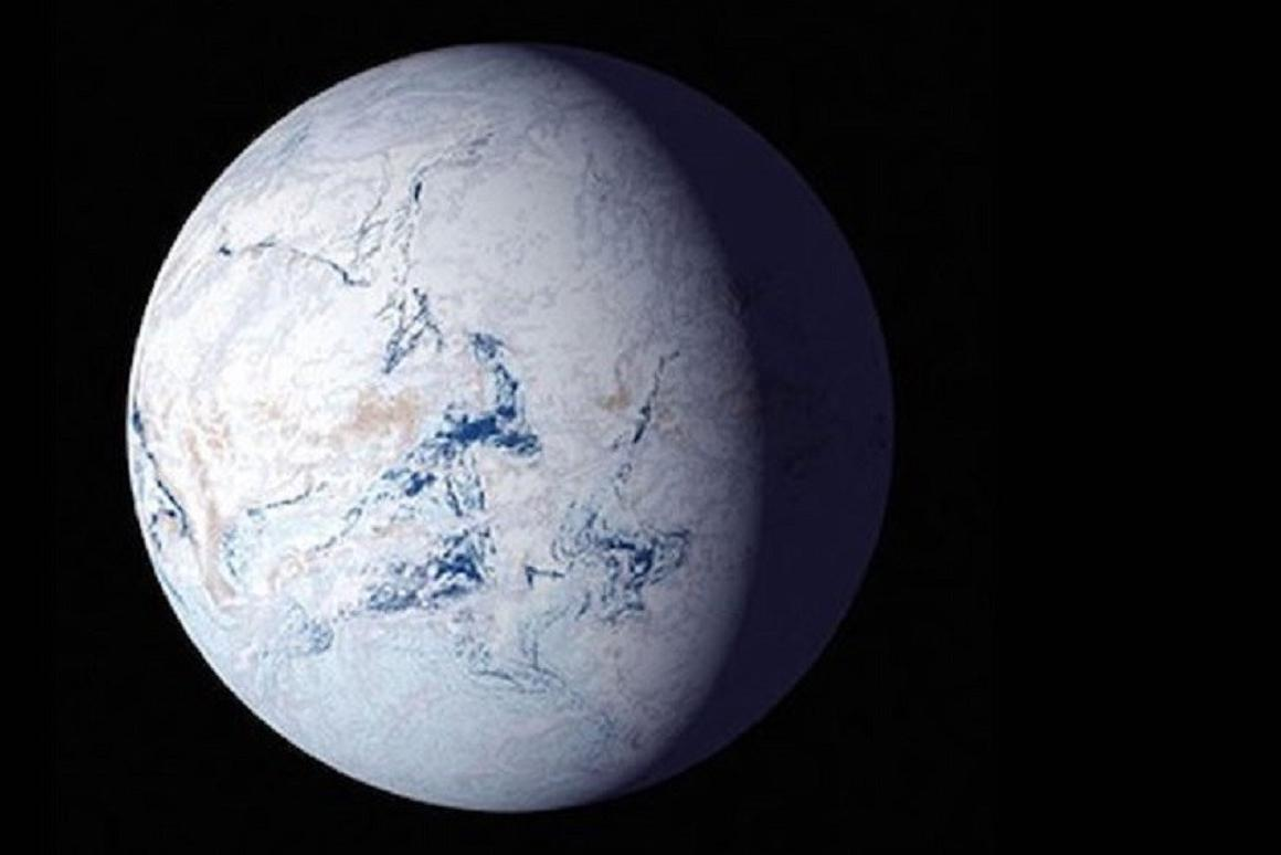 """An artist's impression of what ourplanet may have looked like during the """"Snowball Earth"""" period, about 700 million years ago"""