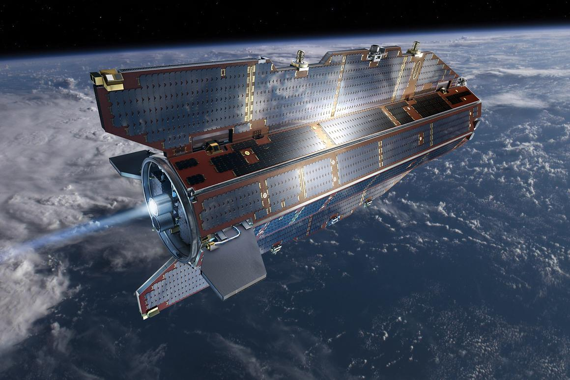 """Sunny side of GOCE, which has been dubbed the """"Ferrari of space"""" (Image: ESA–AOES-Medialab)"""