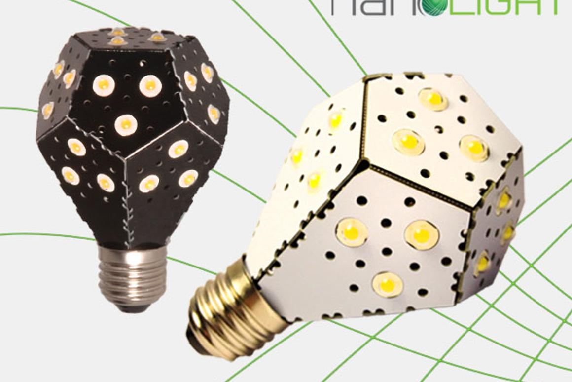 The NanoLight LED's are directly attached to a printed circuit board that is folded to resemble the stereotypical light bulb shape (Image: NanoLight)