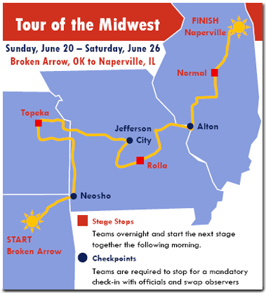 The American Solar Challenge route map