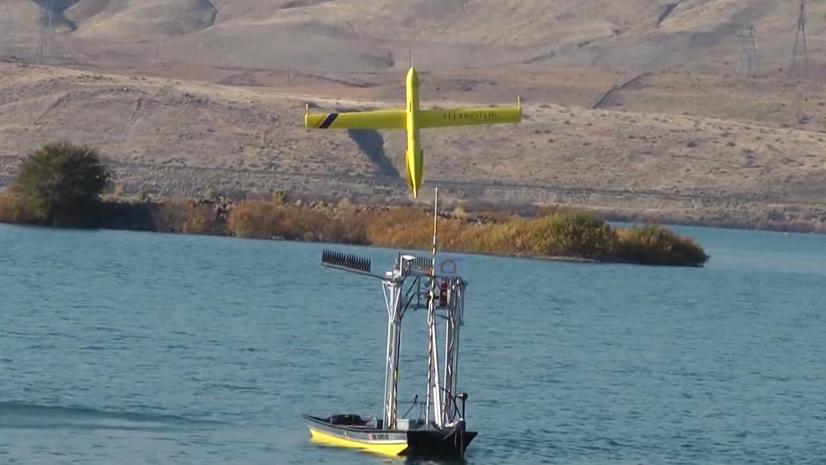 The Flexrotor UAV takes off autonomously from the skiff