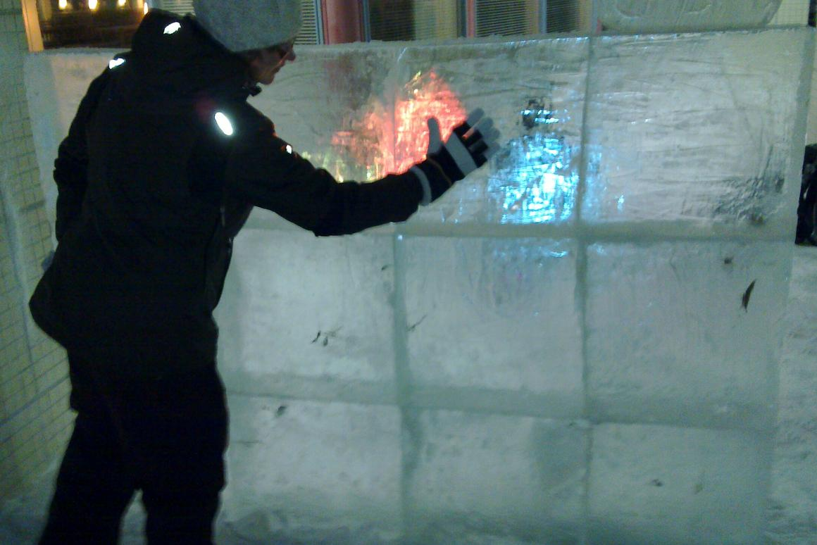 Researchers from the Nokia Research Center in Tampere, Finland have turned a wall of ice into a huge interactive touchscreen display