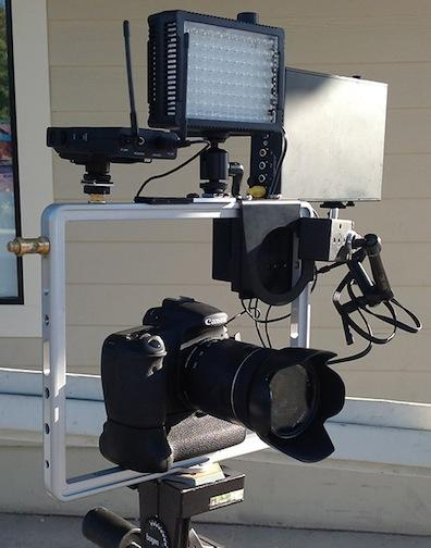 The Padcaster frame being used as a DSLR mount