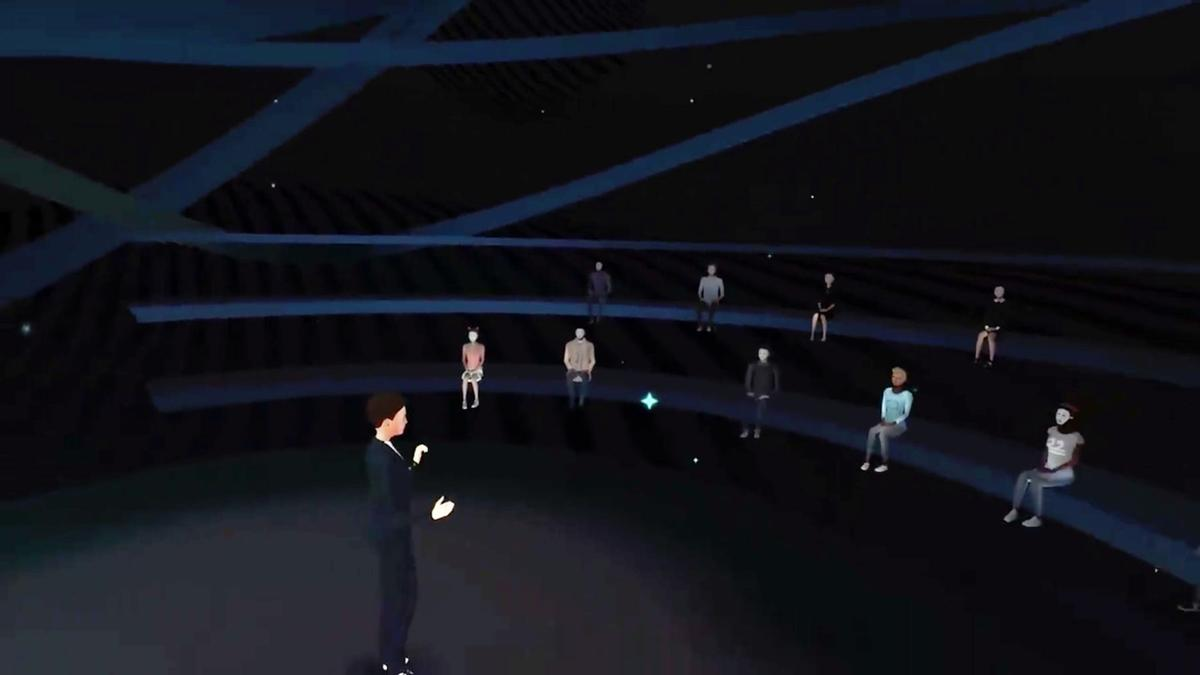A simulated public speaking engagement from Speech Center VR