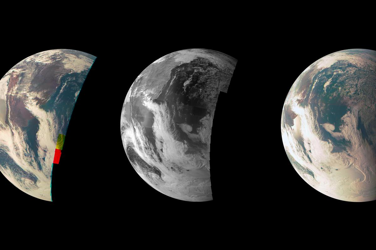 Images of Earth captured by JunoCam during Juno's flyby of Earth in October 2013