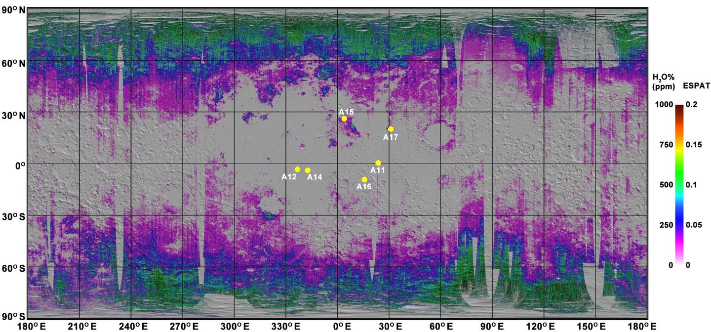 The lunar water map shows that water can be found in higher concentrations near the Moon's poles and less frequently around the equator (the yellow dots are the Apollo landing sites)