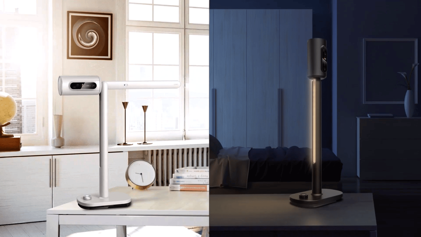 The Lumi desk lamp can be switched between Read mode (color temp. 5,000K) and Rest mode (color temp. 2,700K), the latter intended to calm the user and prepare them for sleep